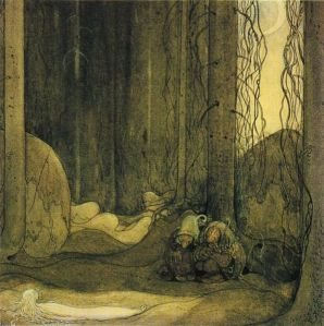 Trolls with a human. Painting by John Bauer.