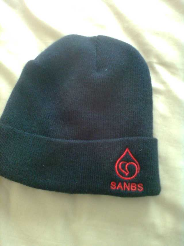The beanie SANBS gave me